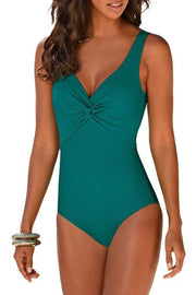 Solid Color V-Neck Kink One Piece