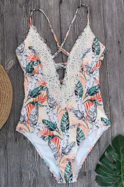 Lace Stitching Print Halter One Piece
