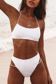 Pure Color Simple Halter Bikini