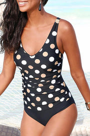 Vintage Polka Dot Folds One Piece