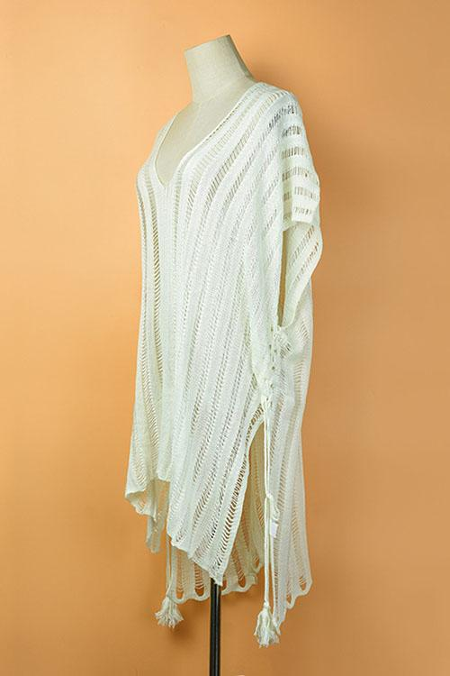 Drawstring Split Knit Hollow Cover Up