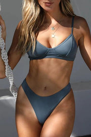 Solid Color Simple High Waist Bikini