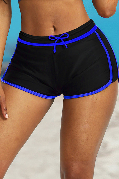 Contrast Boxer Lace Up Swim Trunks