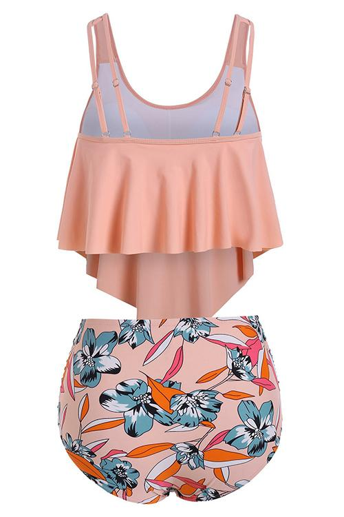 Ruffled High Waist Printed Bikini