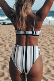 Striped High Waist Strap Bikini