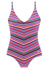 V Neck Colorful Striped One Piece