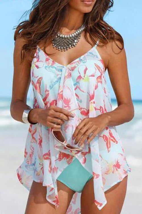 Butterfly Print Three Piece Suit Tankini
