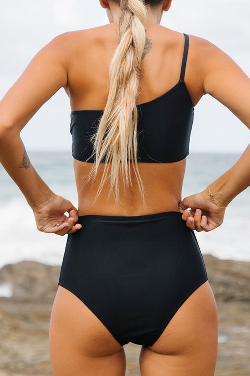 One Shoulder Solid Color High Waist Bikini