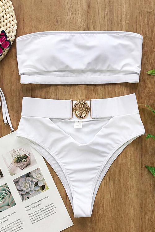 Strapless Bikini With Metal Buckle