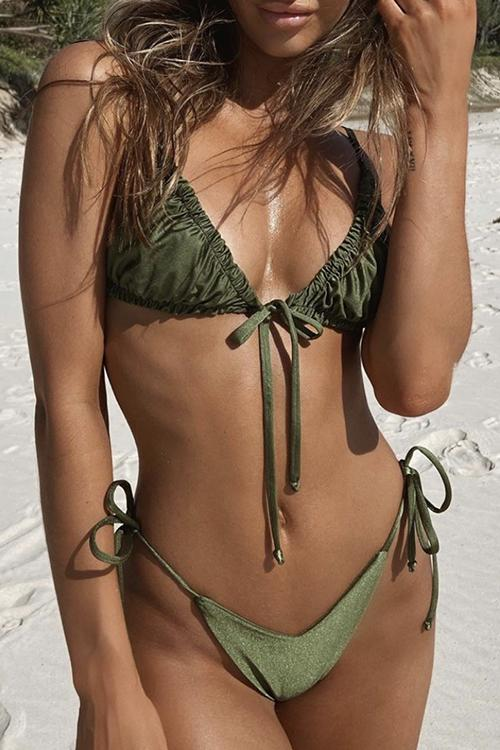 Solid Color Pleated Bikini