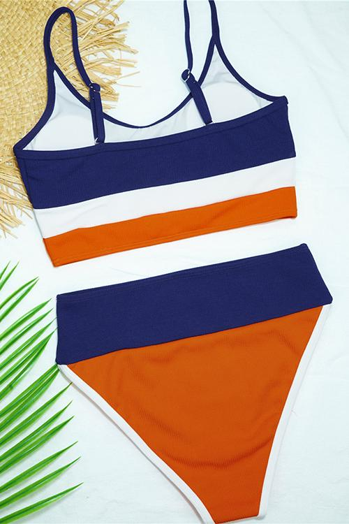 Ribbed Contrast Color High Waist Bikini
