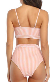 Striped Hanging Neck High Waist Bikini