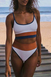 Bandeau High Waist Patchwork White Bikini
