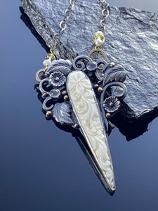 Carved Bone and Moonstone Pendant