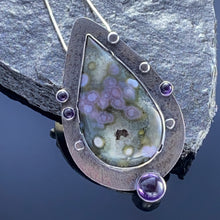 Load image into Gallery viewer, Ocean Jasper and Amethyst Pendant