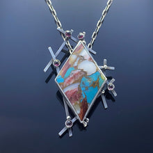 Load image into Gallery viewer, Kingman Turquoise and Spiny oyster Pendant