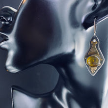 Load image into Gallery viewer, Sterling-brass Amber Earrings