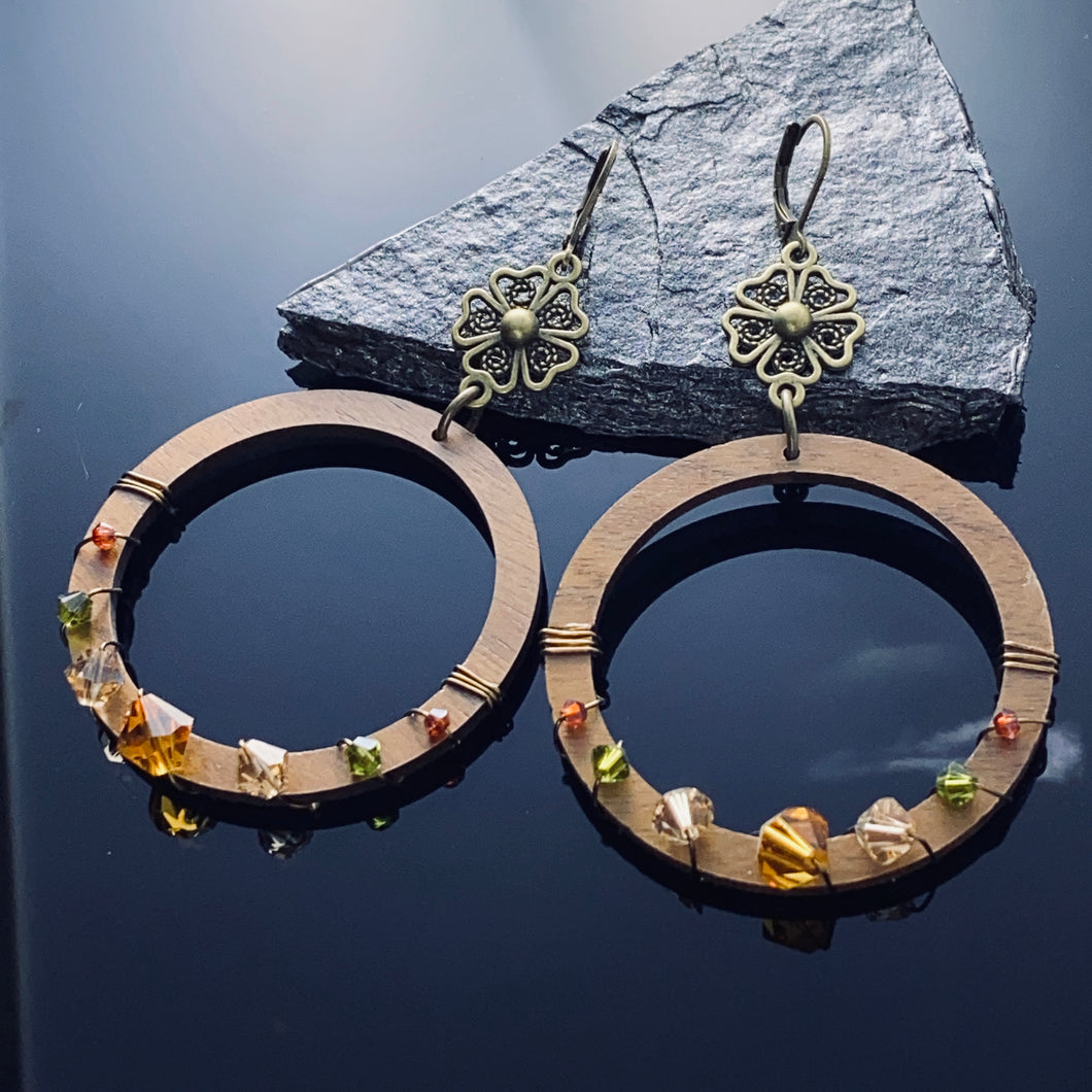 Wood and crystals Earrings