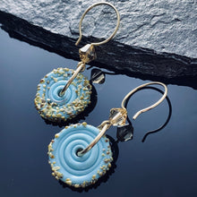 Load image into Gallery viewer, Lampwork Blue Disc Earrings