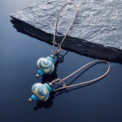 Lampwork Turquoise Copper Earrings