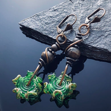 Green Lampwork Copper Earrings