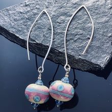 Load image into Gallery viewer, Pink and Blue Lampwork Sterling Earrings