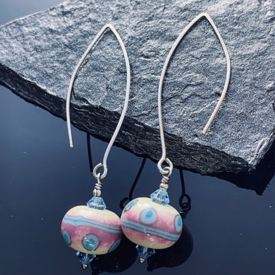 Pink and Blue Lampwork Sterling Earrings