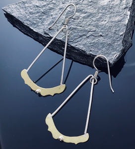 Brass and Sterling Dot Earrings