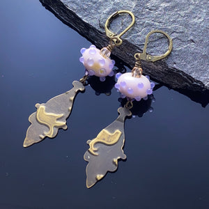 Pink Lampwork Brass Earrings