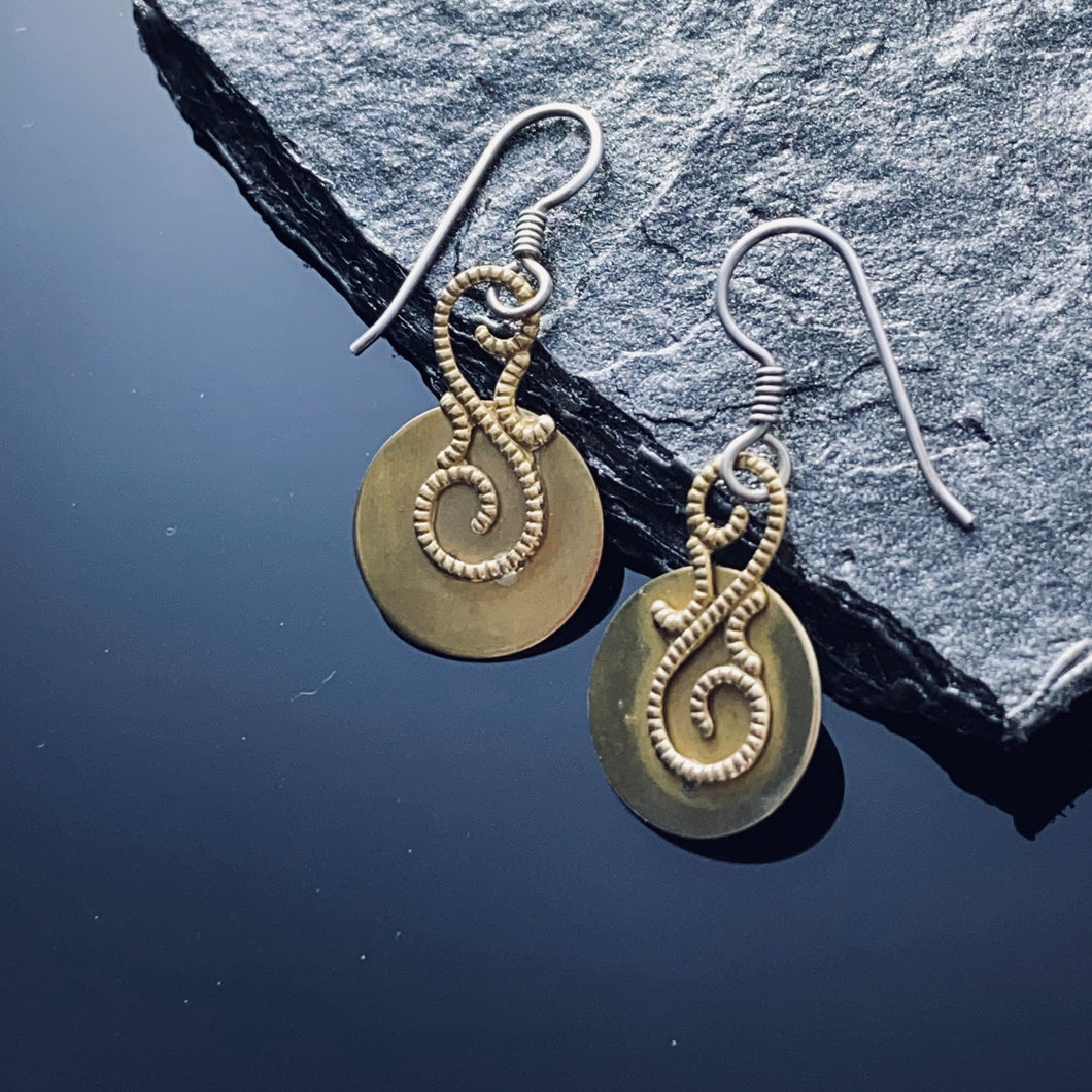 Brass and Sterling Disc Earrings