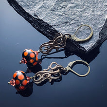 Load image into Gallery viewer, Red Polkadot Lampwork Brass Earrings