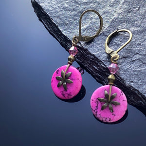 Hot Pink Howlite Brass Earrings