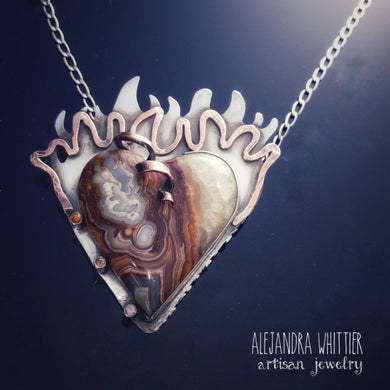 Crazy lace agate heart