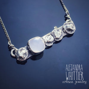 Blue Chalcedony bar Necklace.