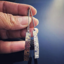 Load image into Gallery viewer, Copper-Sterling Mokume Gane Earrings