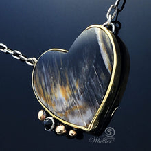 Load image into Gallery viewer, Petrified Wood Heart Pendant