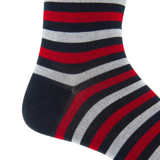 Dapper Classics - Navy and Vanilla Dots with Red and Ash Stripe Cotton Sock Linked Toe Mid-Calf
