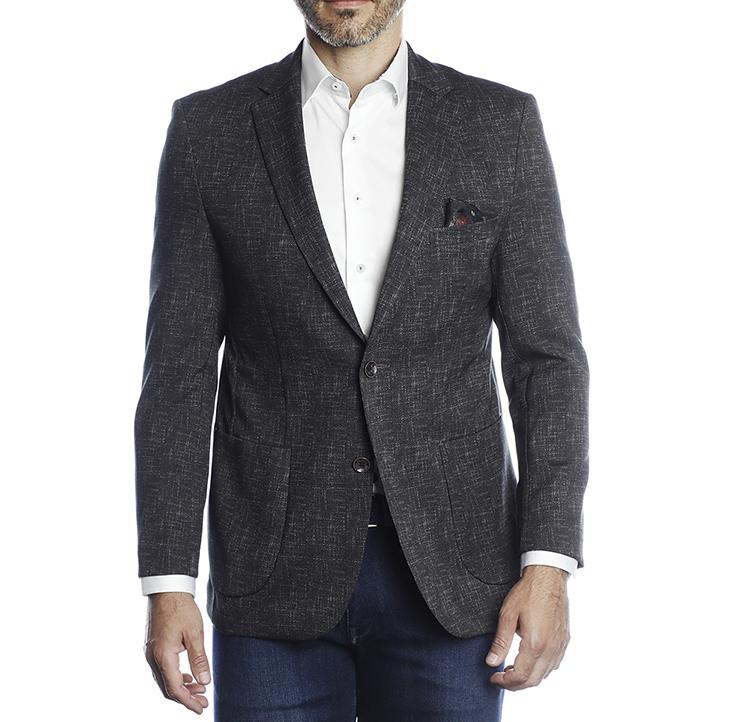 Luchiano Visconti - Charcoal Geometric Recycled Yarn Sport Coat