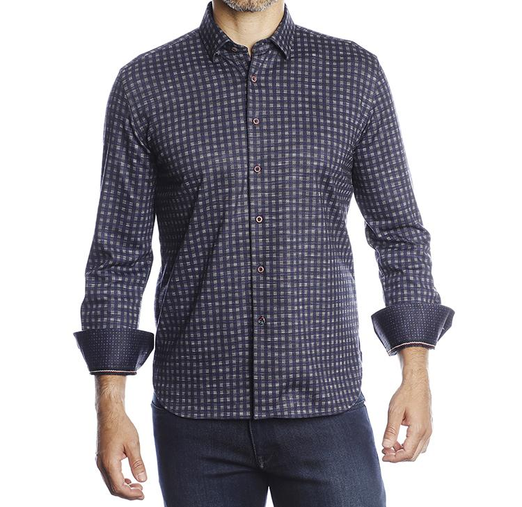 Luchiano Visconti - Navy with Gray Check Sport Shirt