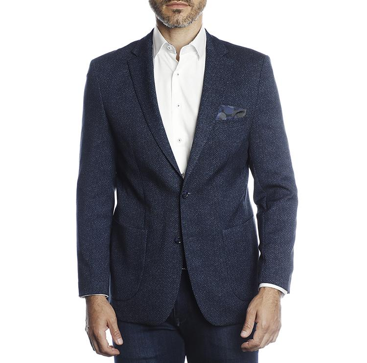 Luchiano Visconti - Blue Herringbone Recycled Yarn Sportcoat