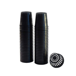 "50 Pack Lightweight Economy Net Pot Cups for Hydroponics and Aquaponics - 2"" Diameter Thin Lip Design with Slotted Mesh Sides"