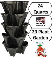 Load image into Gallery viewer, Large 5 Tier Vertical Garden Tower - 5 Black Stackable Indoor / Outdoor Hydroponic and Aquaponic Planters (24 Quart Tower - 13x13x26)