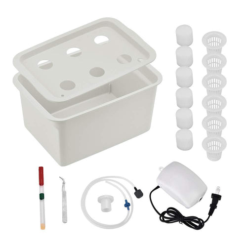 Giraffe-X Indoor Hydroponics Growing System Kit -w/Airstone, 6 Plant Sites (Holes) Bucket, Air Pump, Planting Sponges - Indoor Herb Garden for Lettuce, Mint, Parsley - Grow Fast at Home (Gray)