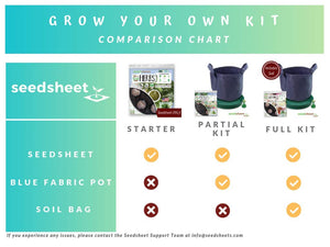 Home Garden Seeds - Seedsheet Grow Your Own Organic Gardening Pods - Eco Friendly Homemade Ingredients with Fabric Container - Partial Kit (Salad)
