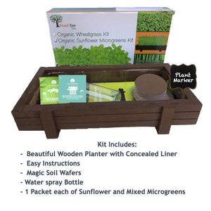 Microgreens Growing Kit with Beautiful Wooden Countertop Planter, Soil & Organic Sunflower, Rambo Radish and Mixed Salad Seeds for 2 Crops. 100% Guaranteed to Grow.
