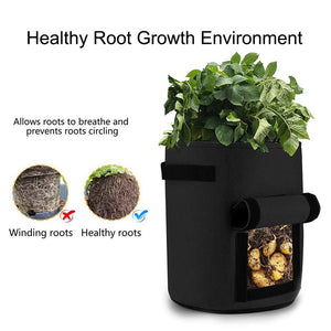 GEMGO 3 Pack Potato Grow Bag, 7 Gallon Aeration Waterproof Fabric Sweet Potato Planter, Velcro Window Vegetable Peanut Growing Box Bucket Pot for Nursery Garden (3 Pack, Black Brown Green)
