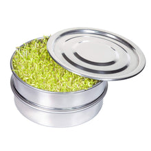 Load image into Gallery viewer, Stainless Steel Seed Sprouting Tray Set-8 Inch 3 Piece Stackable Sprouter Kit, Growing Fresh Organic Broccoli Sprouts, Wheat Grass, Alfalfa Seeds, Fenugreek, Mung Beans and More (Seeds not Included)