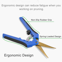 Load image into Gallery viewer, Gardening Trim Scissors Hand Pruner Pruning Snips with Titanium Coated Curved Stainless Steel Blades for Hydroponic, Garden, and Bonsai (4 Pack, Blue)