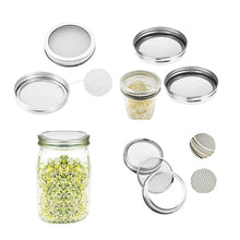 Load image into Gallery viewer, 2 Set Stainless Steel Sprouting Jar Lid Sprouting Stands for Wide Mouth Mason Jars Canning Jars Grow Organic Sprouts Broccoli Lentil Seeds