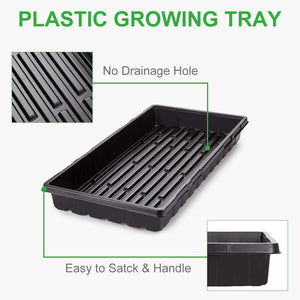 GROWNEER 6 Packs 21 x 11 x 2.4 Inches Plastic Growing Trays with 15 Pcs Plant Labels, Seed Tray Seedling Starter for Greenhouse, Hydroponics, Seedlings, Plant Germination